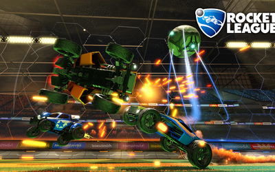 Three cars chasing the ball in Rocket League wallpaper