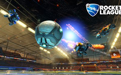Three cars heading for the ball in Rocket League wallpaper