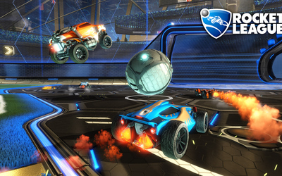 Three cars on the field in Rocket League wallpaper