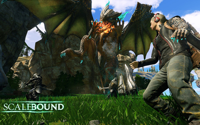 Thuban breathing fire in Scalebound wallpaper