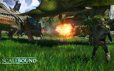 Thuban setting the enemy on fire in Scalebound wallpaper