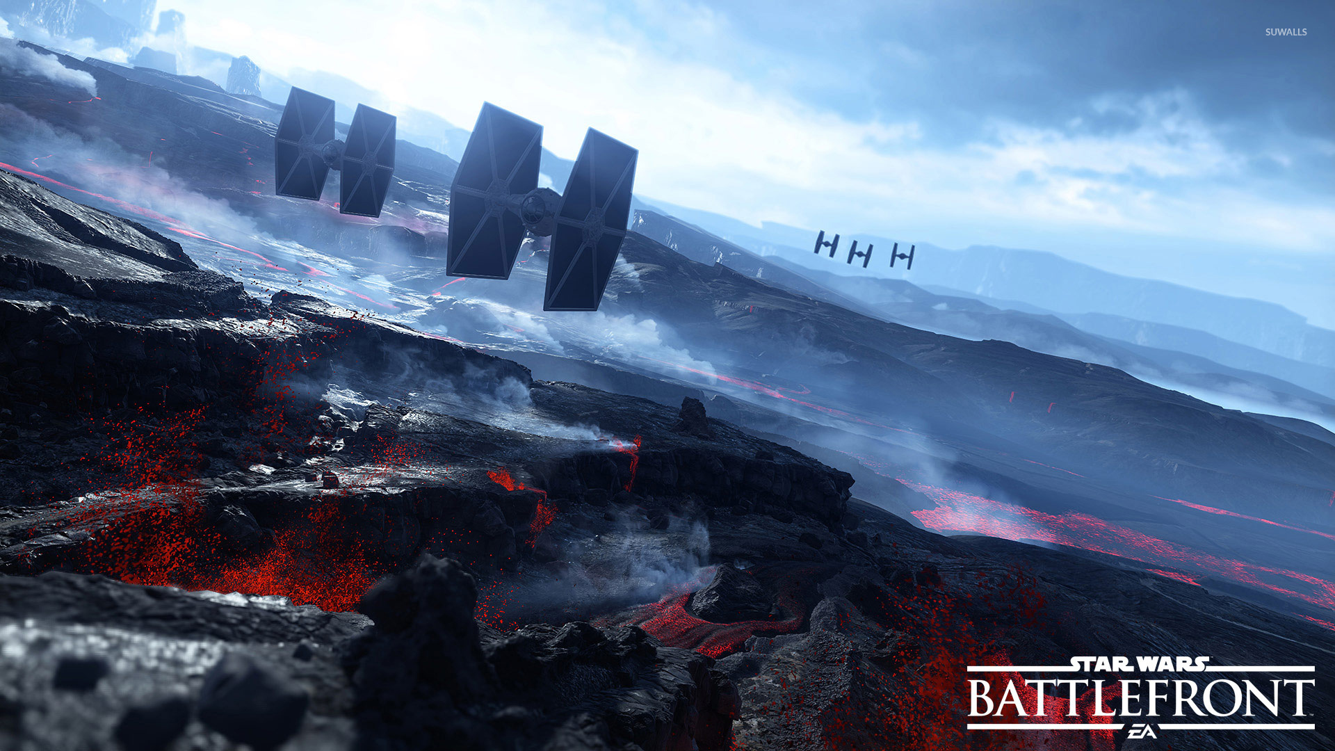 Tie Fighters Over The Volcanoes In Star Wars Battlefront Wallpaper Game Wallpapers 49400
