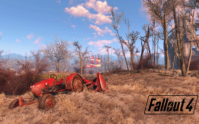 Tractor on the field in Fallout 4 wallpaper