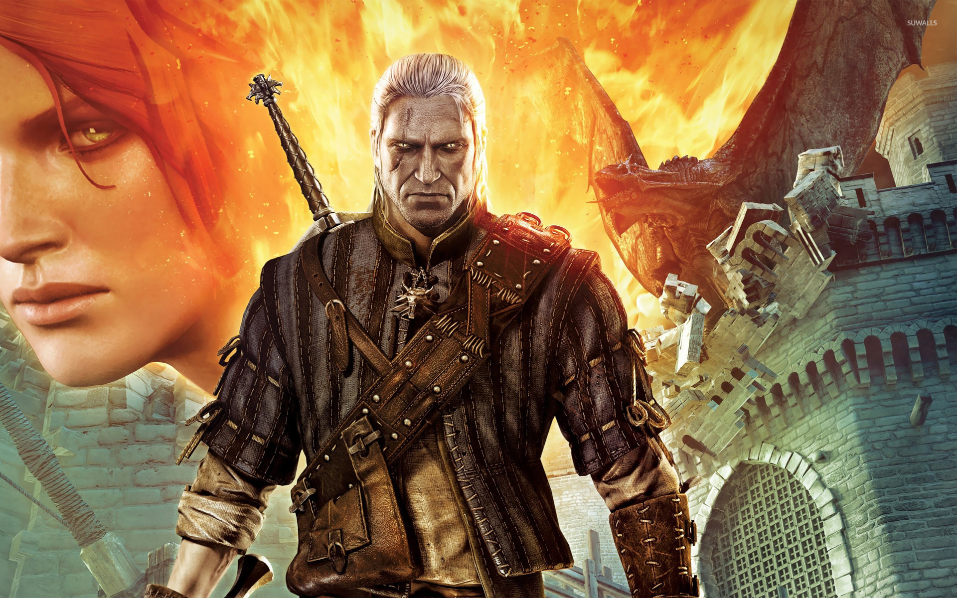 Triss Merigold And Geralt The Witcher 2 Wallpaper Game
