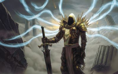 Tyrael with a golden sword - Diablo wallpaper
