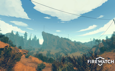 Utility pole through the forest in Firewatch wallpaper