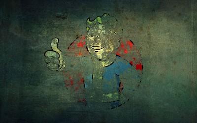 Vault Boy graffiti on an old wall - Fallout wallpaper