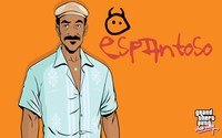 Vice City character in front of Radio Espantoso logo wallpaper 2880x1800 jpg