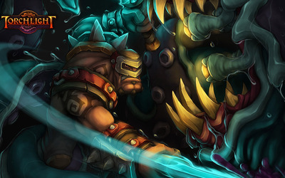 Warrior during a fight in Torchlight wallpaper