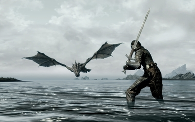 Warrior ready to fight a dragon in Skyrim wallpaper