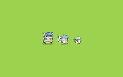 Wartortle, Squirtle and Blastoise - Pokemon wallpaper