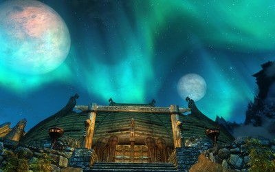 Wooden temple in The Elder Scrolls V: Skyrim wallpaper