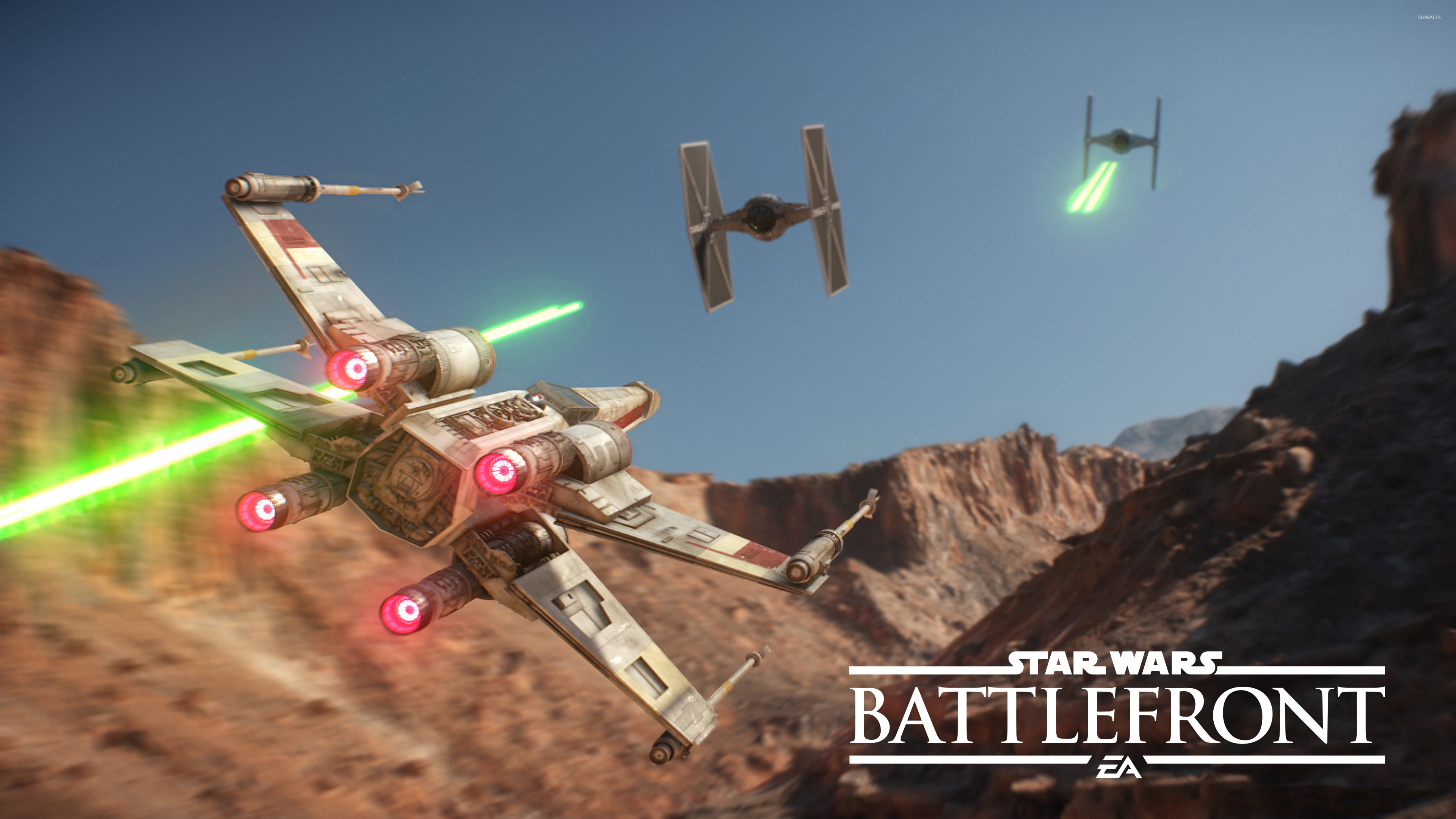 X Wing Chasing Tie Fighters In Star Wars Battlefront Wallpaper