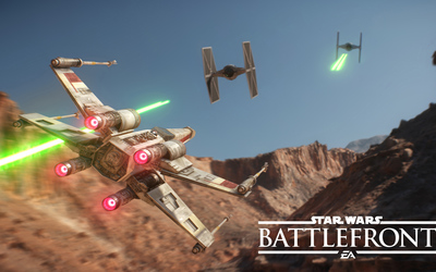 X-wing chasing TIE fighters in Star Wars Battlefront wallpaper