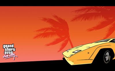 Yellow Lamborghini in Vice City wallpaper