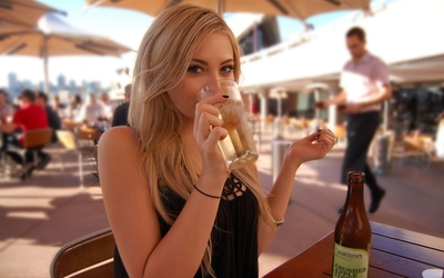 Abigail Halliday having a cider wallpaper