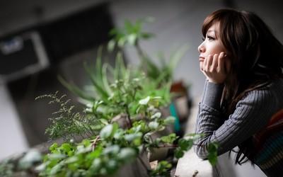 Asian girl gazing wallpaper