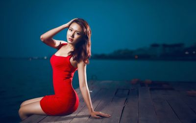 Asian girl in a red dress wallpaper