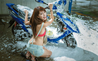 Asian girl washing a scooter wallpaper 2560x1600 jpg
