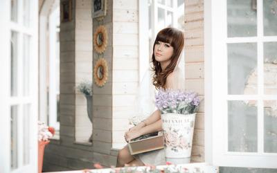 Asian redhead bride wallpaper