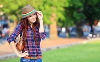 Beautiful asian redhead with a hat wallpaper 2560x1600 jpg