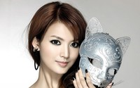 Beautiful asian redhead with kitty cat mask wallpaper 1920x1200 jpg