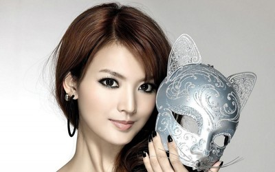 Beautiful asian redhead with kitty cat mask wallpaper