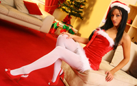 Beautiful brunette in Santa's Little Helper costume wallpaper 2880x1800 jpg
