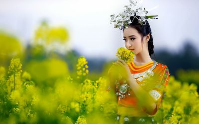 Beautiful geisha smelling the flower wallpaper