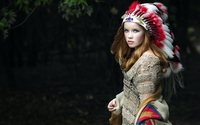 Beautiful girl in a native american costume wallpaper 1920x1200 jpg
