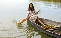 Beautiful woman on a boat wallpaper 1920x1200 jpg