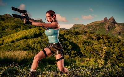 Bianca Beauchamp in a Lara Croft costume wallpaper