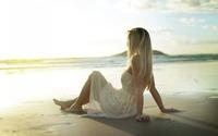 Blonde on a sandy beach watching the sunrise wallpaper 1920x1200 jpg