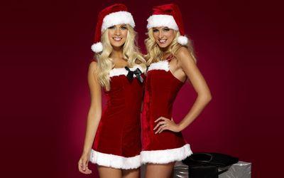 Blonde Santa girls in short dresses wallpaper
