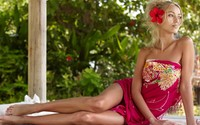 Blonde with a red hibiscus in her hair wallpaper 1920x1080 jpg