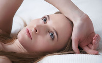 Blue eyed blonde lying in bed wallpaper 2880x1800 jpg