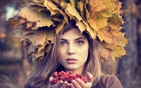 Blue eyed blonde with an autumn leaf hat wallpaper 1920x1080 jpg