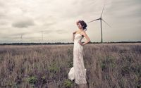 Bride on the field wallpaper 1920x1200 jpg