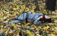 Brunette on autumn leaves wallpaper 2560x1600 jpg