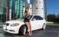 Brunette with a BMW wallpaper 1920x1200 jpg