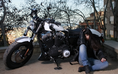 Brunette with a Harley-Davidson wallpaper