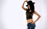 Brunette with a hat wallpaper 2560x1600 jpg