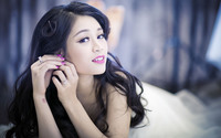 Cute asian brunette with pink lips and nails wallpaper 1920x1200 jpg
