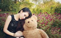 Cute asian girl with a teddy bear wallpaper 2560x1600 jpg