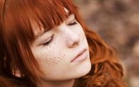 Cute redhead with closed eyes wallpaper 1920x1080 jpg