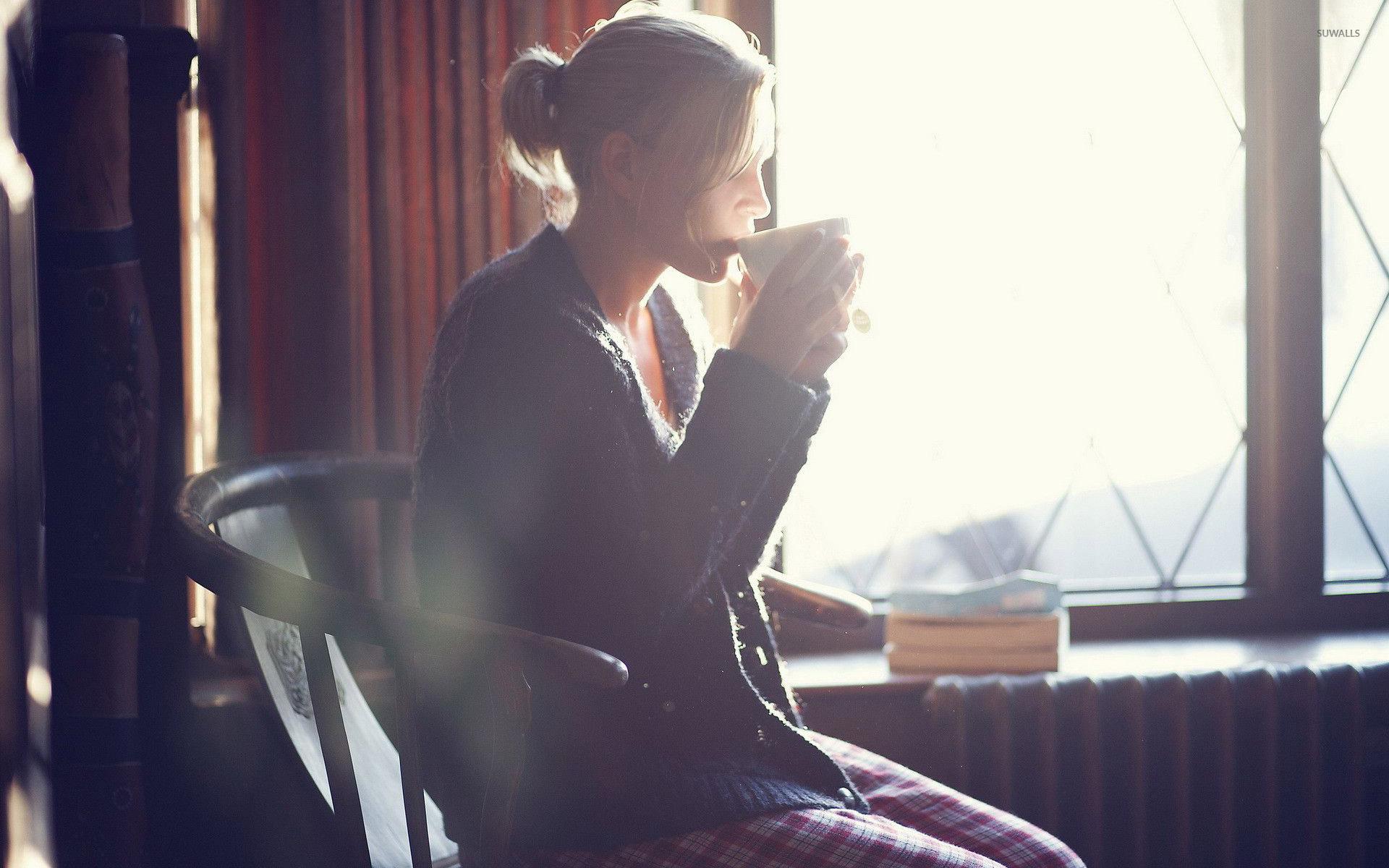 Enjoying morning coffee wallpaper - Girl wallpapers - #28914