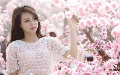 Girl among cherry blossoms wallpaper