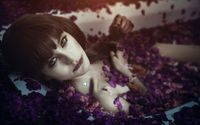 Girl bathing in a tub full of petals wallpaper 1920x1200 jpg