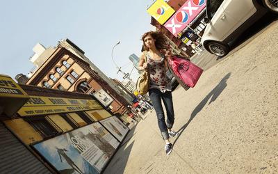 Girl facing gravity wallpaper