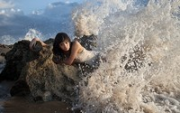 Girl in the foamy waves wallpaper 1920x1200 jpg